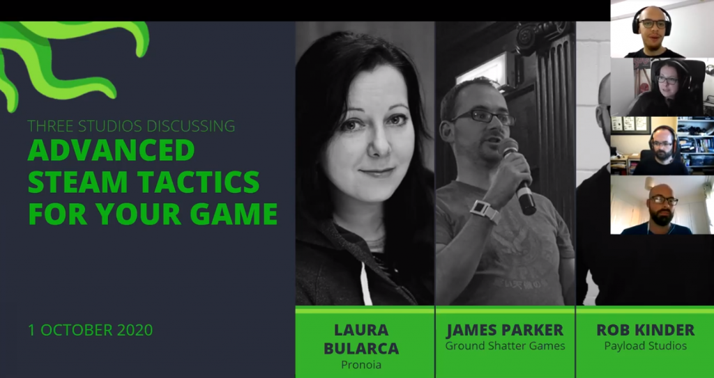 Event cover with the speaker's names and the title of the session - Advanced Steam Tactics for Your Game